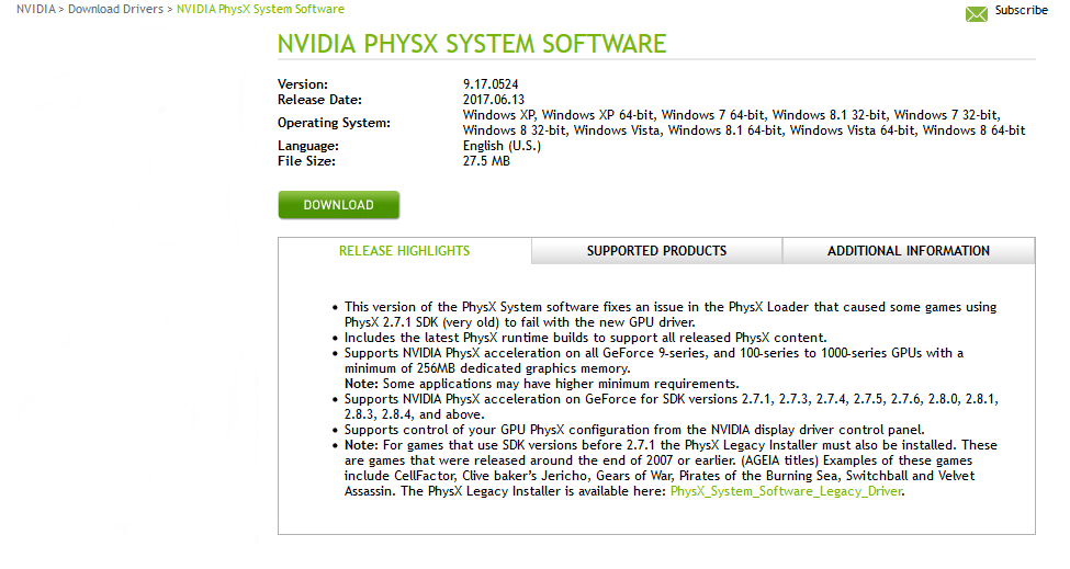 Nvidia physx download win 10 | NVIDIA PhysX System Software