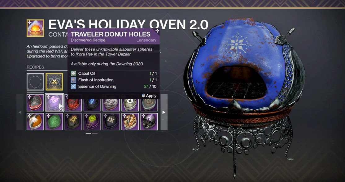 Destiny 2 - All Recipes for The Dawning 2020